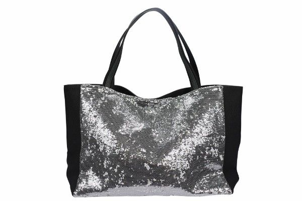 Sleep Over Bag Black with Silver Sequins - Large glamorous black canvas tote bag with pink sequins on one side. Makes for the perfect girlfriend gift. Great for the beach or pool, carting books, or a fun sleepover carry all!