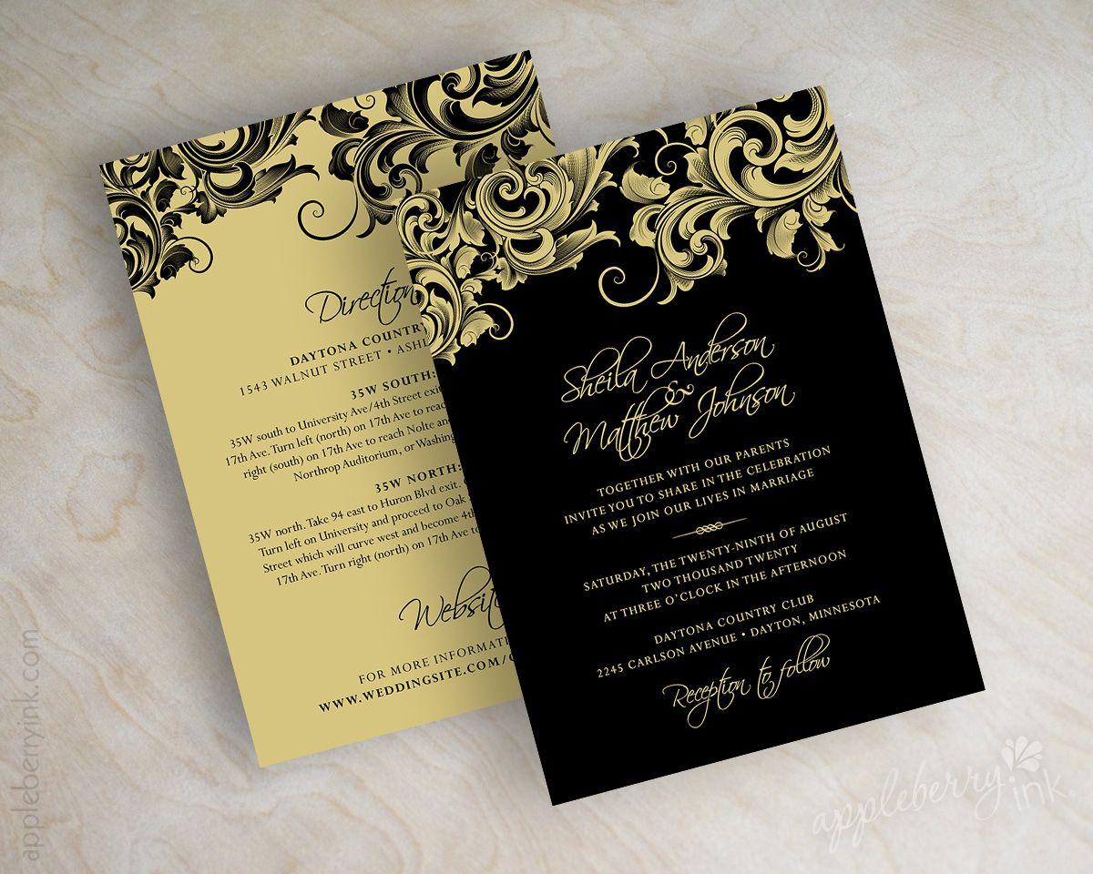 Black And Vegas Gold Filigree Formal Wedding Invitations Wedding