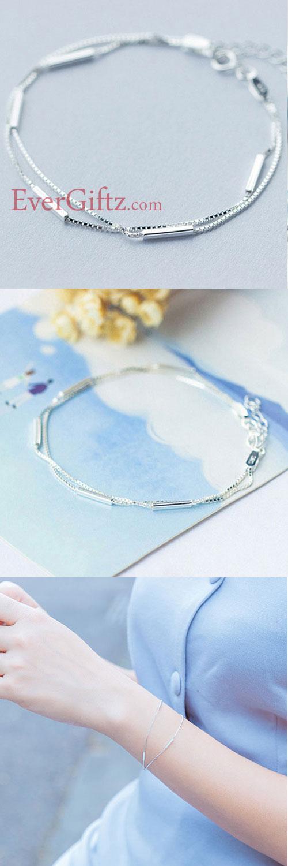 4c06785ef5943 Silver Bracelet Layered Charm Bracelets Chain Bracelets Gift Jewelry  Accessories