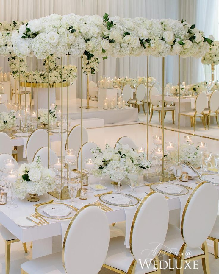 White And Gold Wedding Flowers: Tall White Wedding Floral Centerpieces White Wedding
