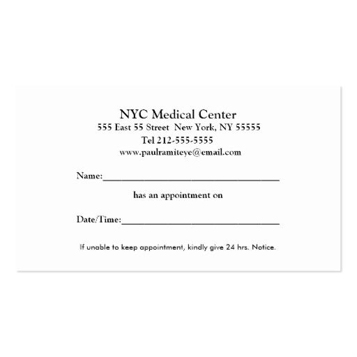Ophthalmologist appointment business card back side visiting ophthalmologist appointment business card back side colourmoves