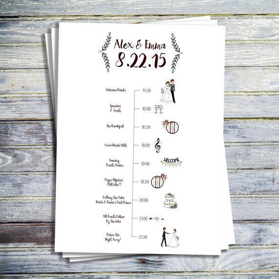 Wedding Timeline, Printable Wedding Program, Printable