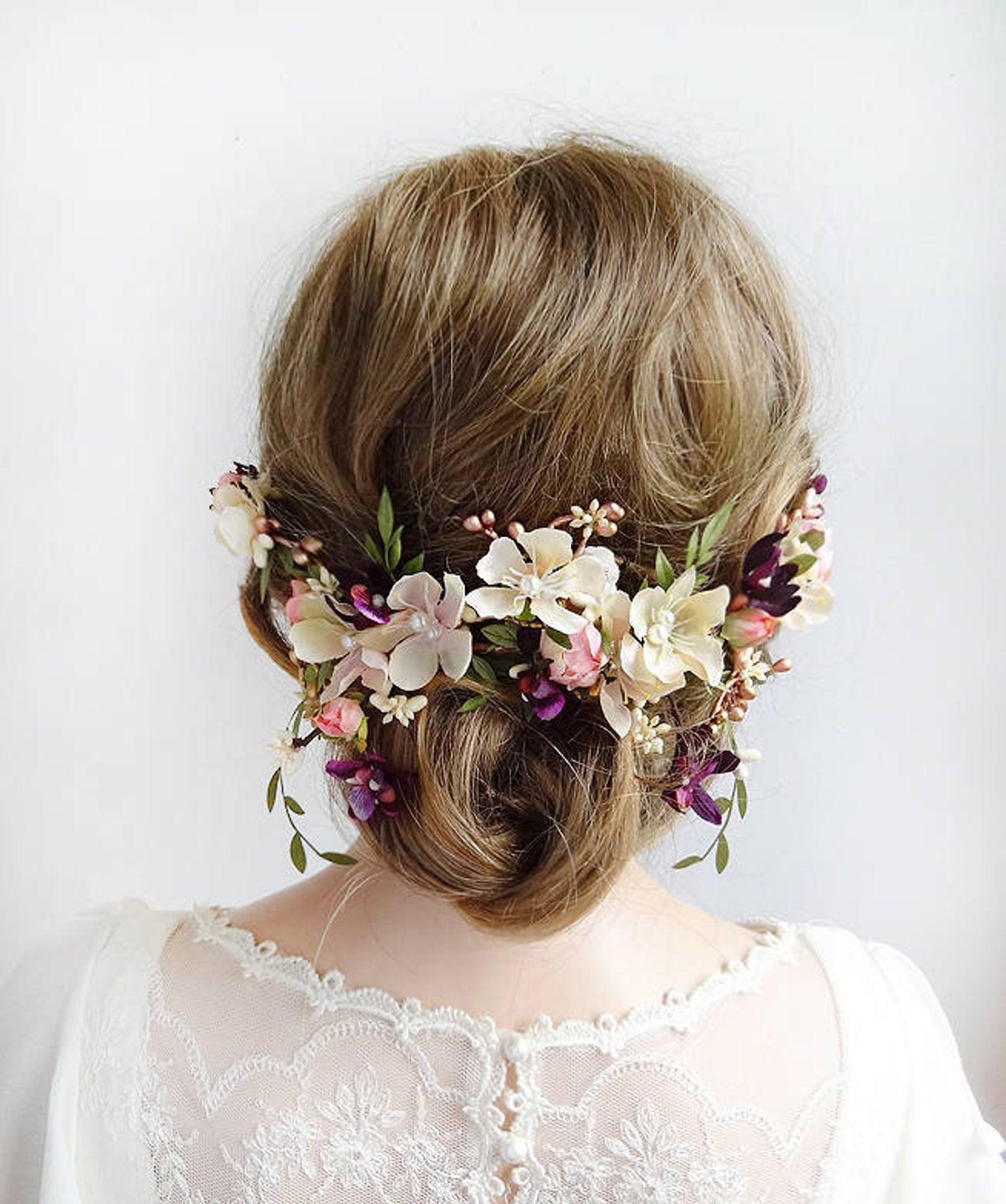 Bridal Headpiece Rose Gold Wedding Headpiece Rose Gold Etsy Flower Hair Accessories Wedding Floral Headpiece Wedding Bridal Hair Pieces Flower