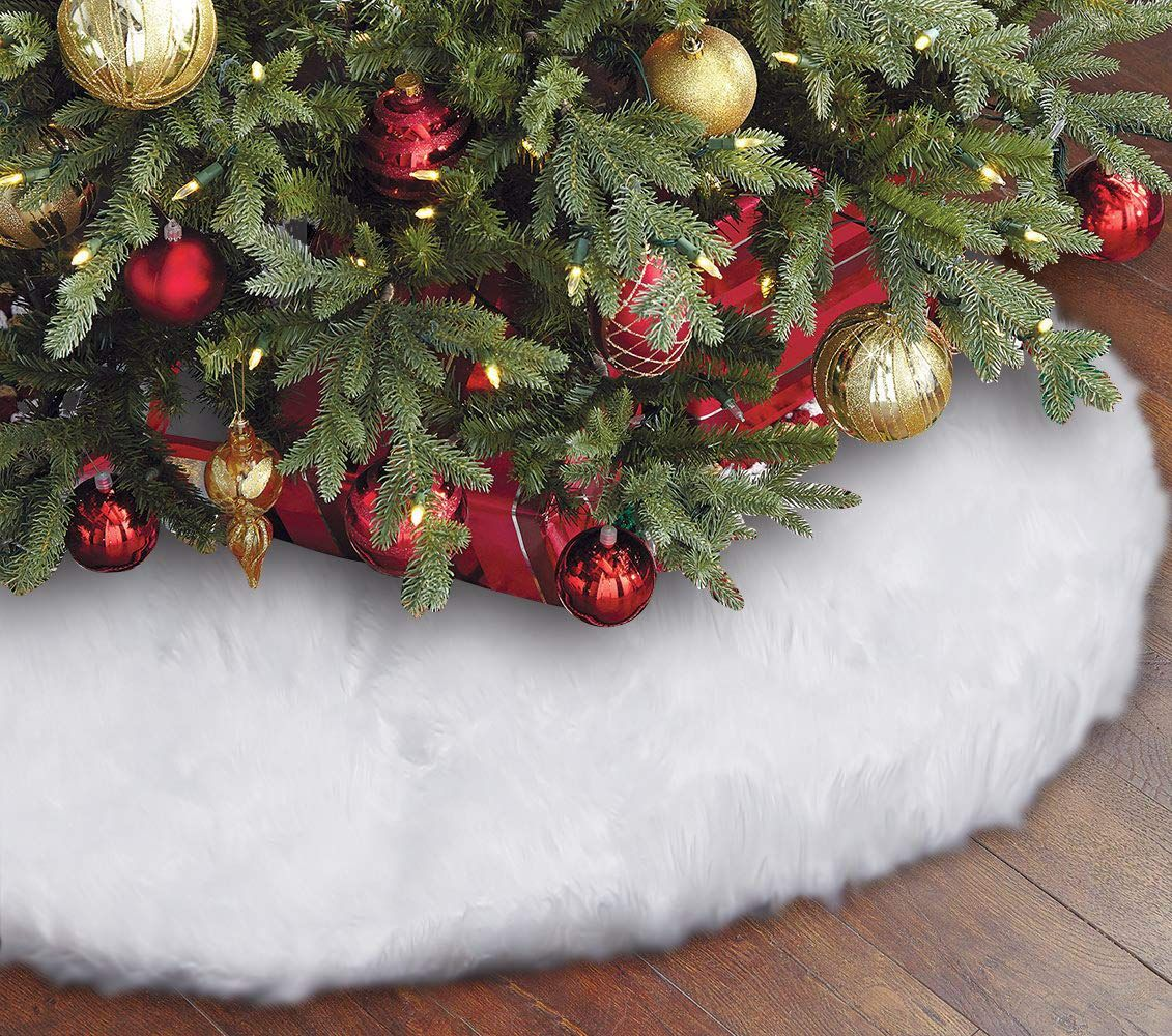 Eafion Christmas Tree Skirt 48 inches Large Snowy White