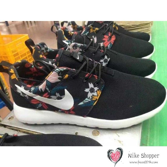 save off 6c90a 0d850 ... inexpensive nike roshe run womens mens shoes black floral white 396a3  4a828