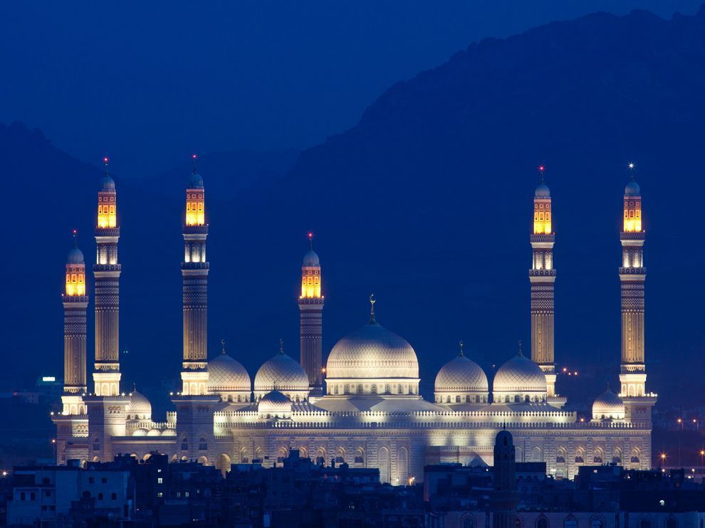 Al-Saleh Mosque, Sana'a, Yemen Photo and caption by Nick Ledger The mosque was commissioned by Yemen's President Al-Saleh and completed in 2008 at a reported cost of $60 million. Each of the minarets are over 100m high, the main hall alone covers 13,500 square metres and the mosque can hold over 44,000 people. It makes for a stunning view when seen from a rooftop in the Old City of Sana'a.