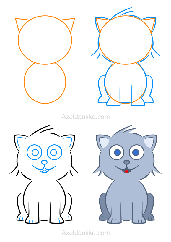 Connu How to draw a kitten - Comment dessiner un chaton   Animals  HK41