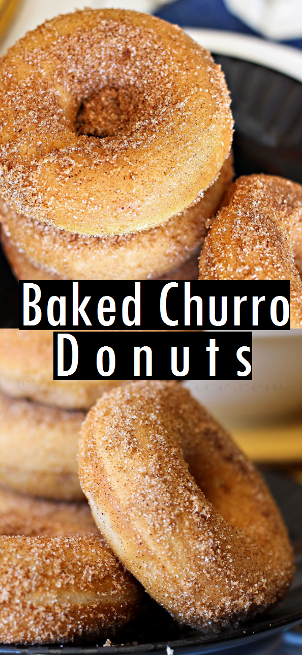 Baked Churro Donuts - Amber's review: made 5/5/19 - followed recipe exactly, baked in a donut pan for 10 minutes. These are very tasty, definitely a cake like texture (not quite as dense as a donut) but they are delicious! #donutcake