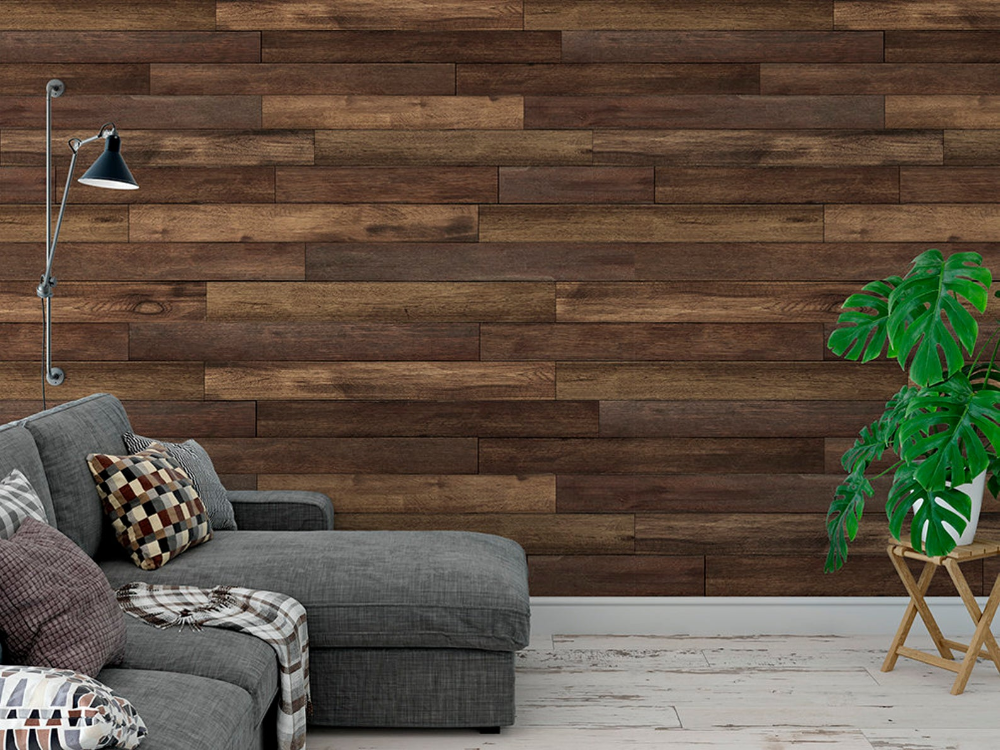 Peel and stick removable wallpaper/ Brown wood panel