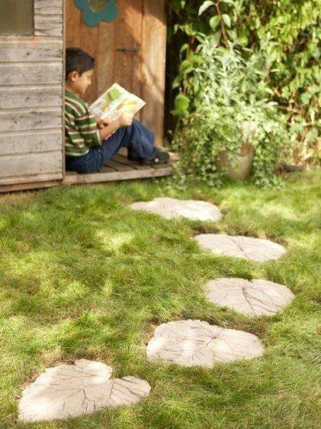 Losas para el jardín con hojas Pinterest Hoja, Jardín y Cemento