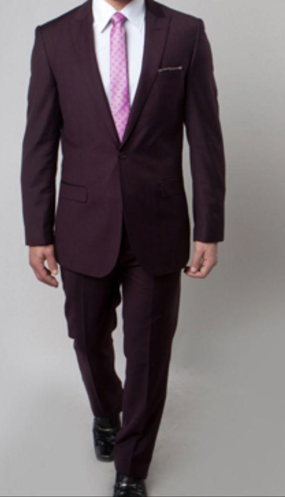 d7f7a9b4977d Details about Men's Slim fit plum color suit for Men stunning flat ...