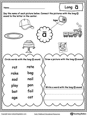 Long A Sound Worksheet With Images Vowel Worksheets Phonics