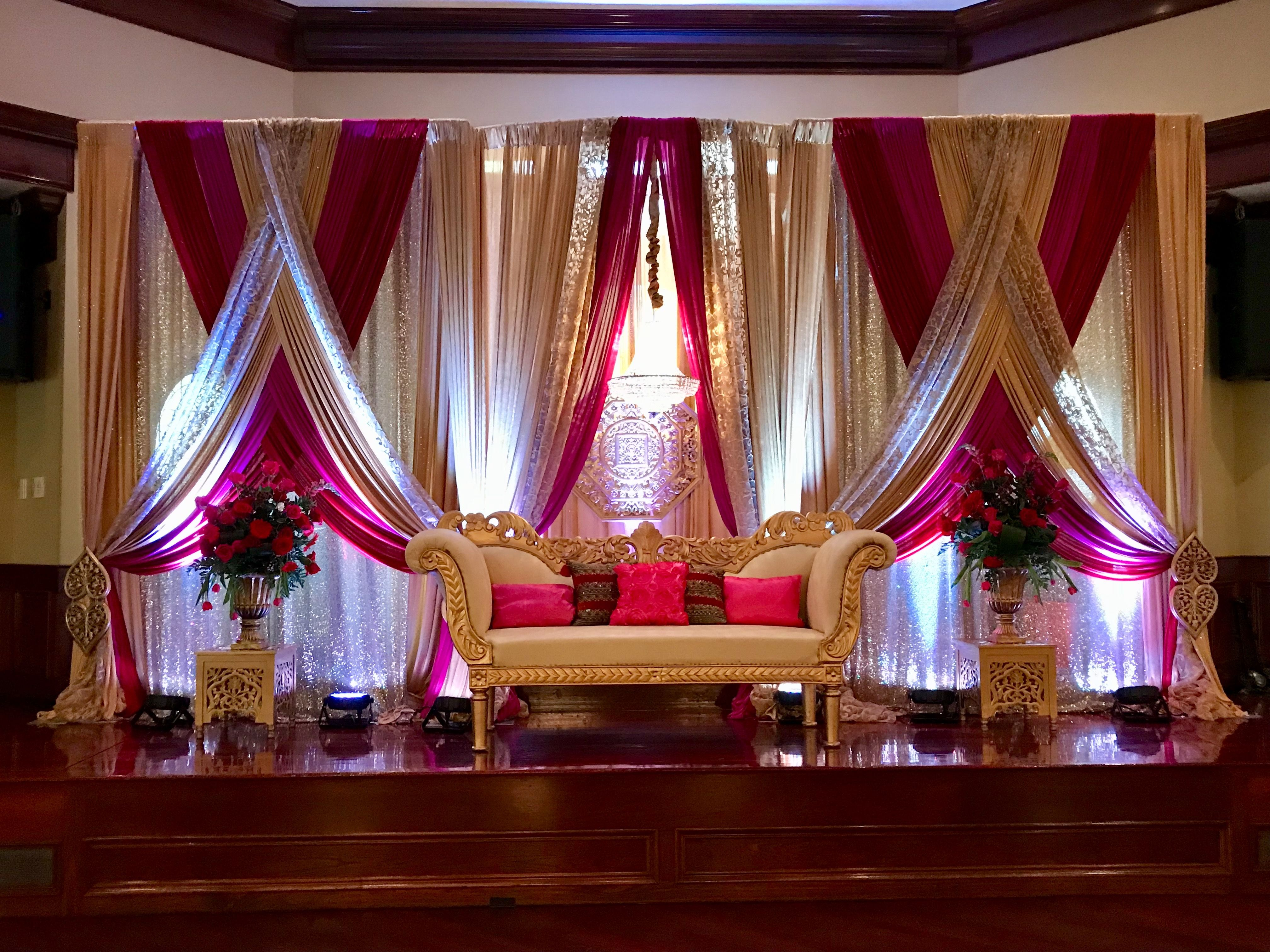 Reception Stage Decoration Indian Red And Champagne