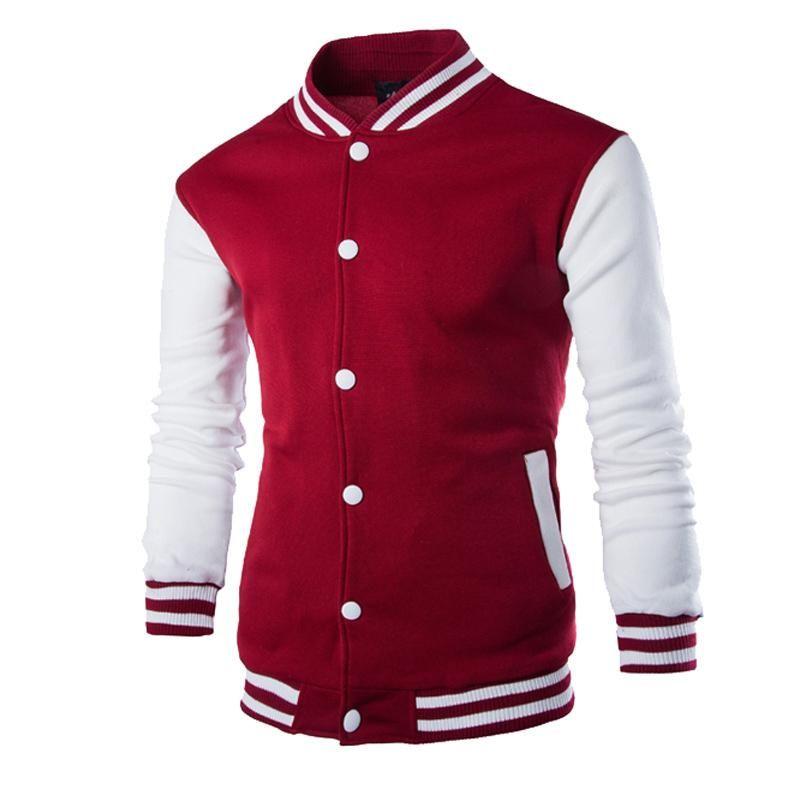 New Wine Red Jacket Men 2017 Spring Fashion Design Mens Slim Fit Zipper Baseball
