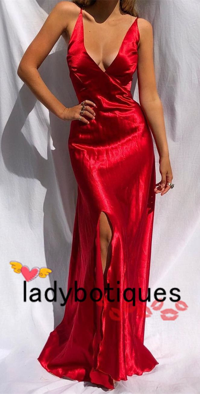 Red long evening dress with lace up back from ladyboutiques prom