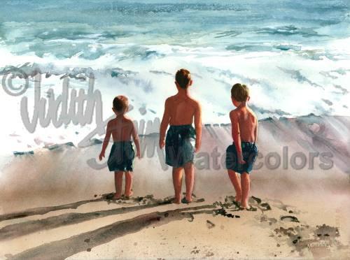 Beach Boys Brothers Friends Blue Bathing Suits Seashore