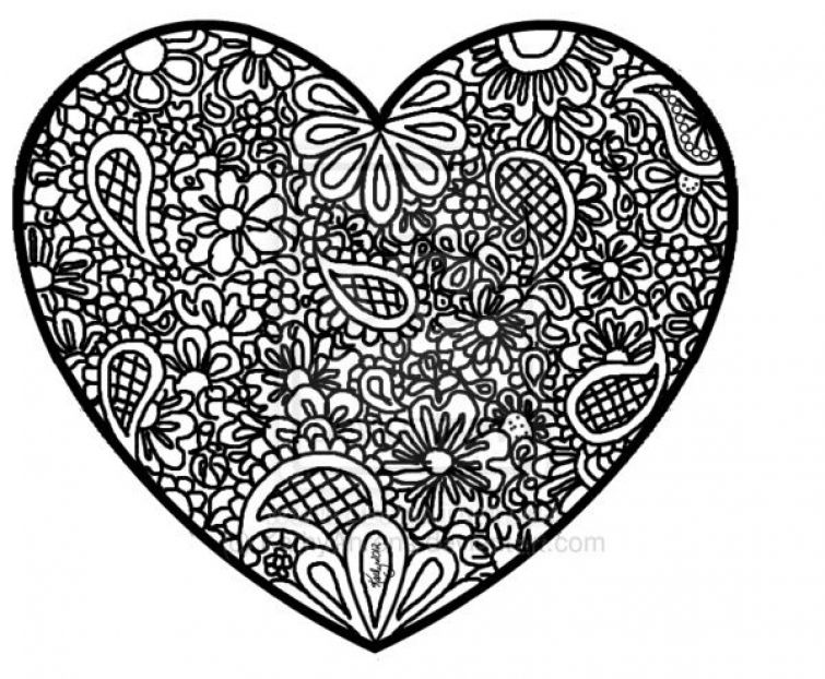 Free printable Heart abstract doodle difficult coloring page for - new difficult pattern coloring pages