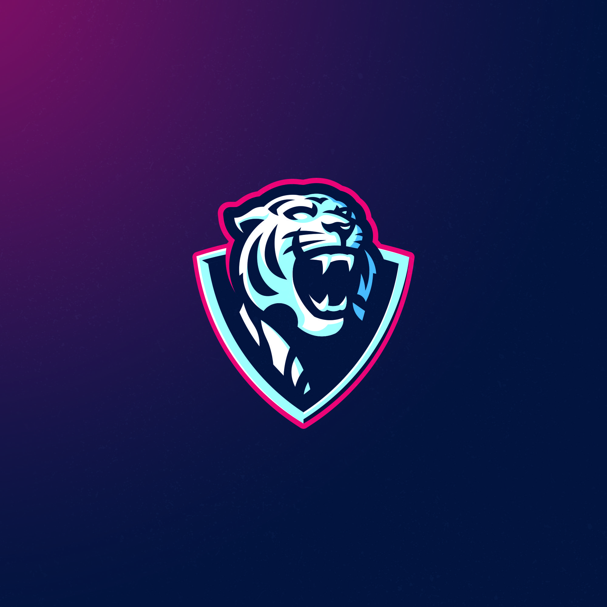 Ice blue tiger logo avaiable for purchase at Logoground