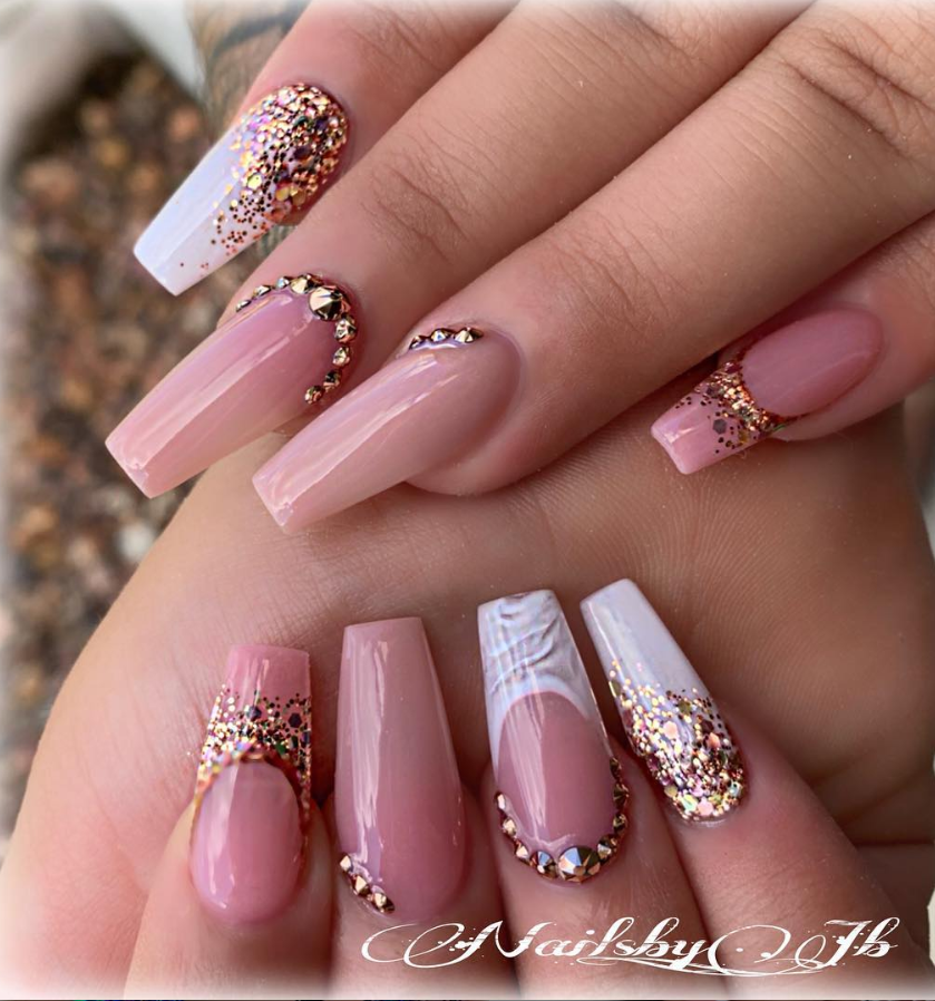 54 Hot Gel Pink Acrylic Coffin Nails Design Ideas Page 54 Of 55 Latest Fashion Trends For Woman Rhinestone Nails Nail Designs Coffin Nails Long