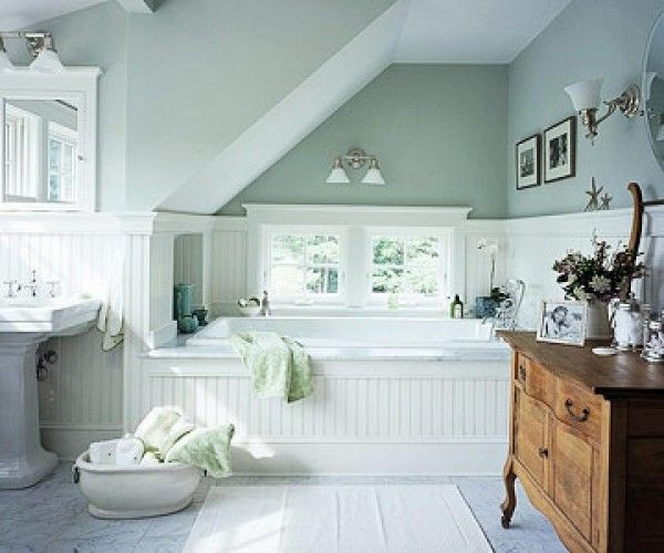 Attrayant Cottage Style Bathroom   Decorating With Cool Colors Pale Green And White  Marble, Like The Antique Cabinet In Contrasting Wood