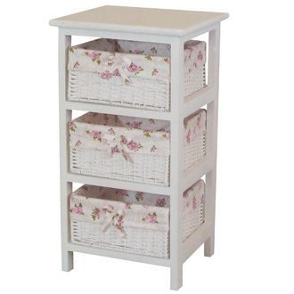 """""""Paperloopcest pink / floral print' storage / furniture / laundry chest / storage / box / laundry rack / washing compartment / towel storage / washing basket / dressing cart / dressing basket / simple / country / white furniture and wood tone / unde"""