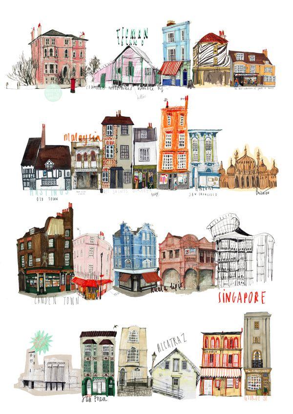 Nina Cosford 街並み イラスト 水彩色鉛筆 イラスト 家のイラスト