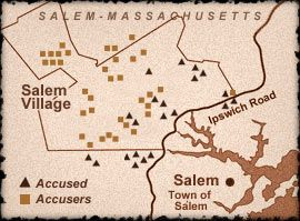 salem witch trials location map Settings In 1692 Salem Was Divided Into Two Distinct Parts Salem salem witch trials location map