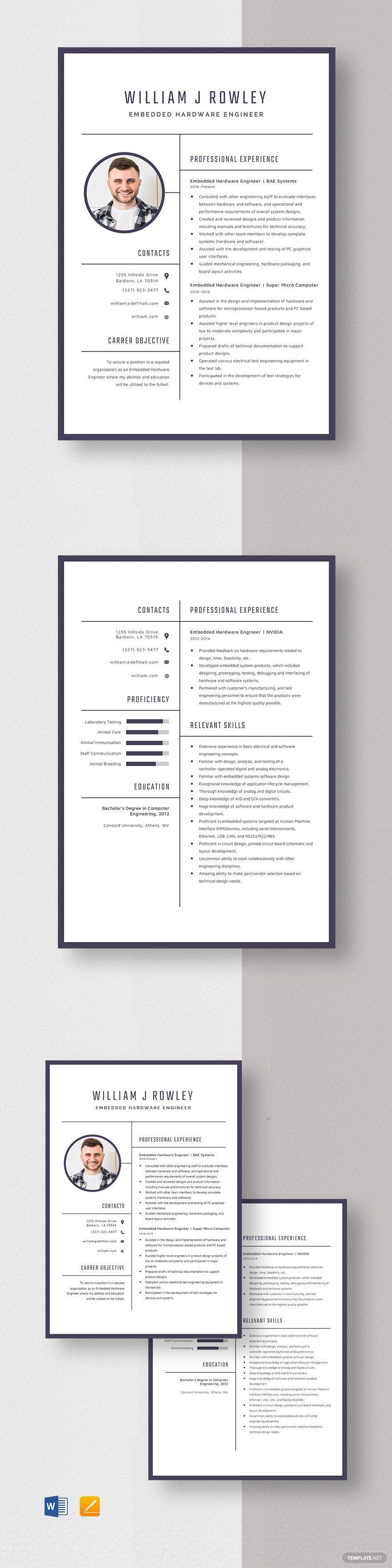 Embedded hardware engineer resume template in 2020
