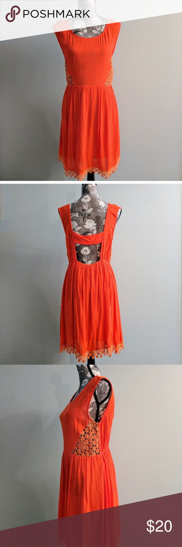 Bright orange crochet back cut out dress mini dresses bright and