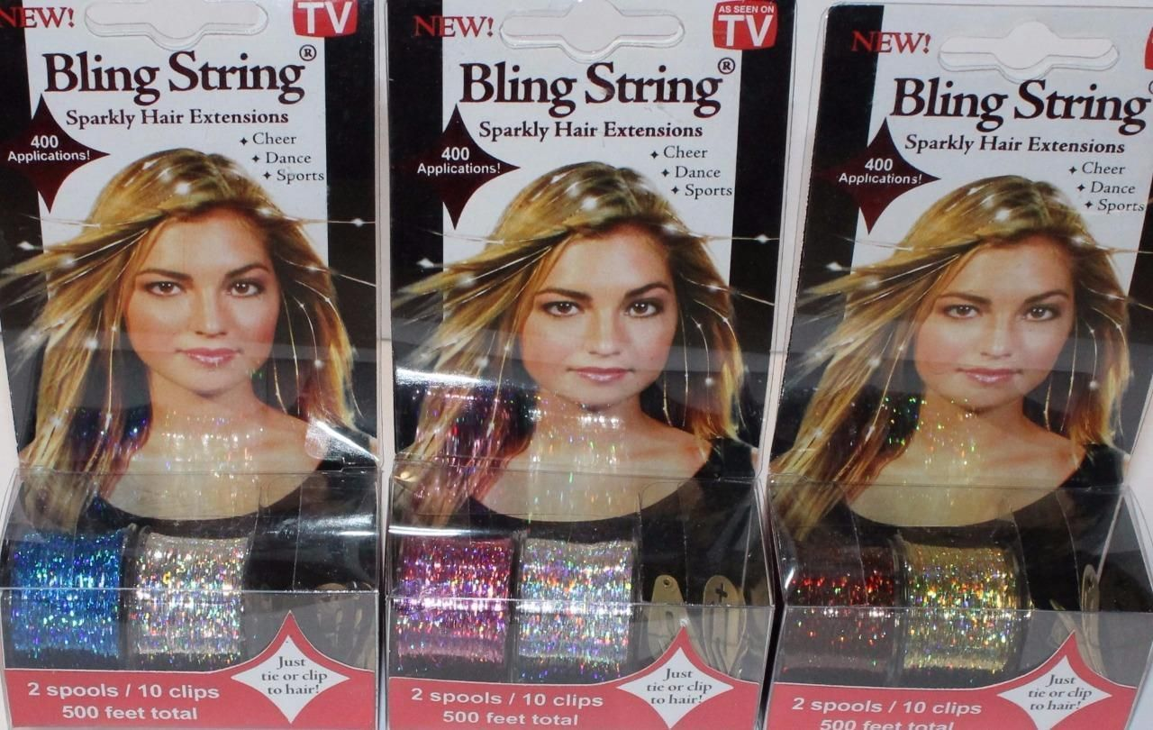 Bling String As Seen On Tv Sparkly Hair Extensions W Clips 500 Ft