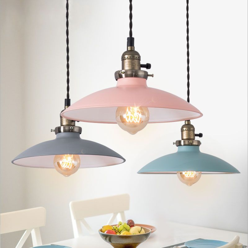 Modern Color Metal Pendant Light Industrial Vintage Lampshade