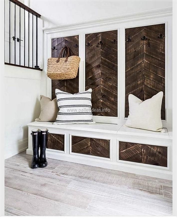 If you are planning to buy a seat for the new home and also needs to pin the hooks for hanging items, then don't waste your hard earned money. Arrange the recycled wooden pallets and create wall art with hanger and couch present here because you can decorate your new home amazingly by placing the DIY wood pallet furniture.