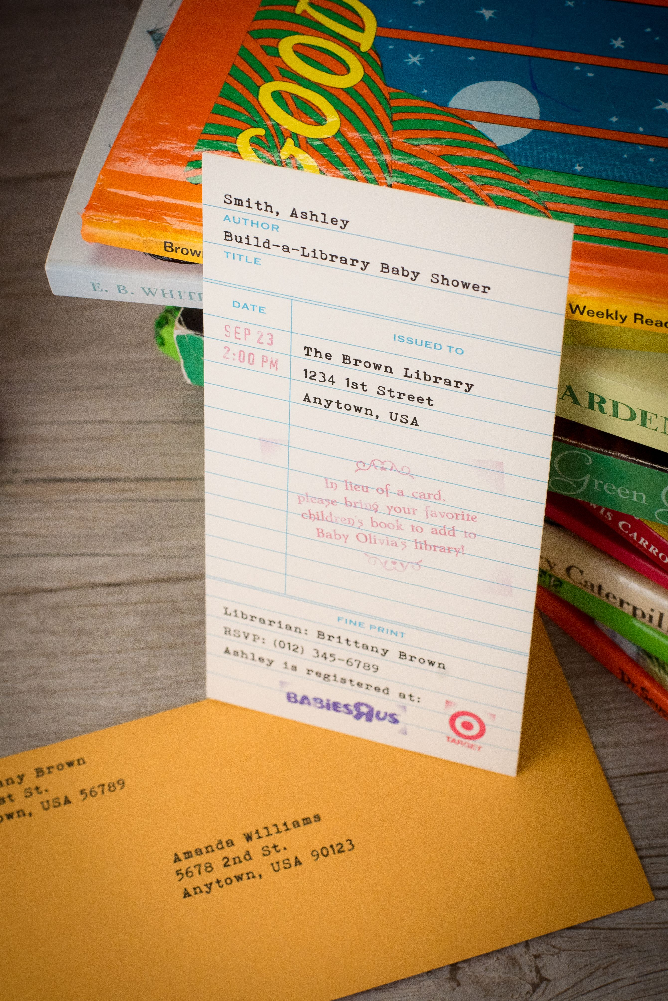Buildalibrary baby shower invitations set of 5 book