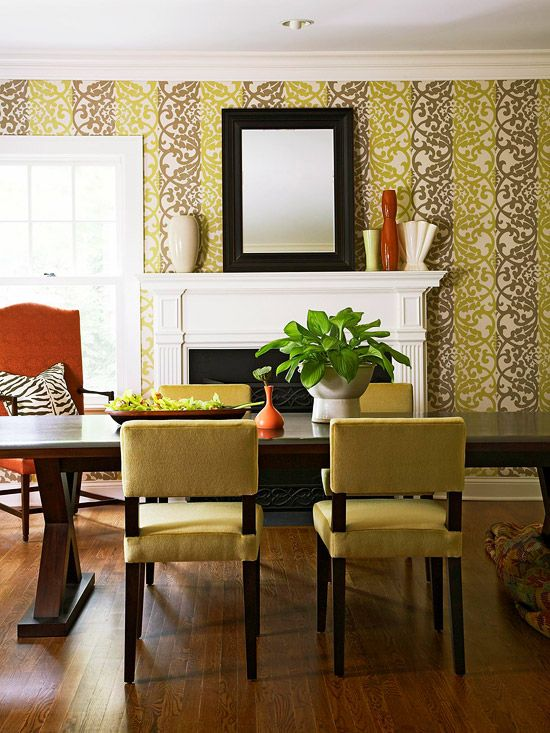 Simple Color Scheme- green, gray/brown, off white ... see the wall pape and green furniture
