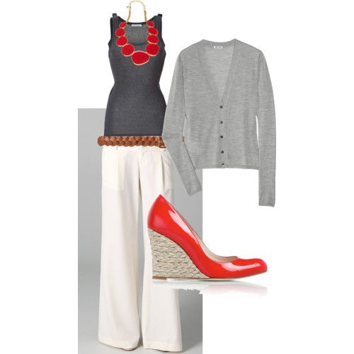 0682132987 Today s outfit inspiration. The red shoes are pretty much hidden under the  white linen pants