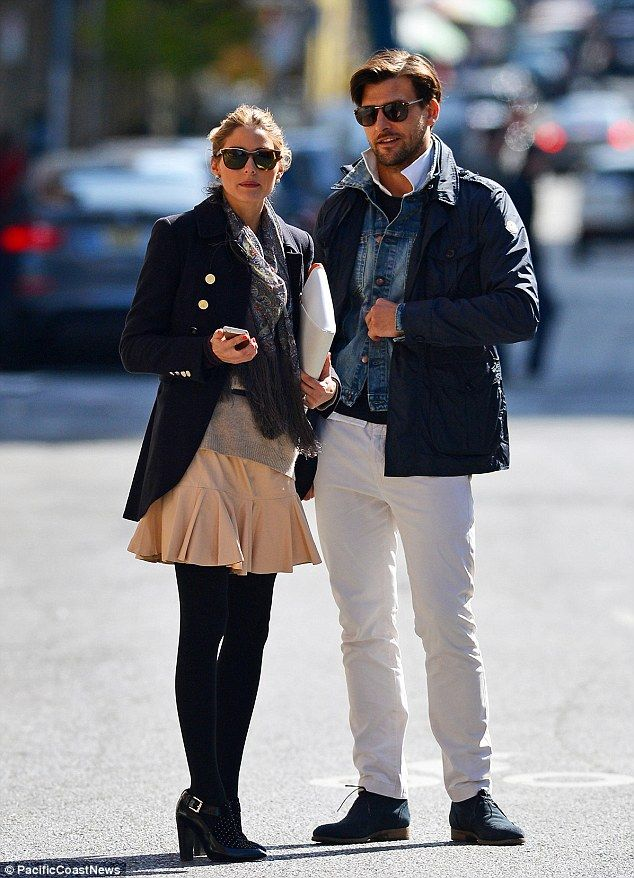 Out and about: Olivia Palermo and her fiancé Johannes Huebl teamed up to hail a taxi cab in New York City on Monday