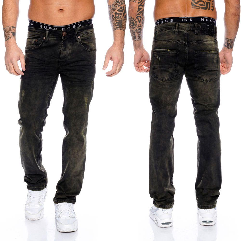 Rock Creek Herren Jeans Vintage Used Look Denim Schwarz Herrenjeans Hose RC -2096 74d93ec5a9