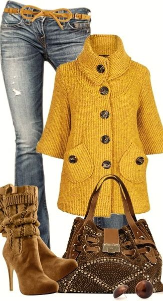 cute mustard colored sweater with jeans and boots... | Fashionista ...