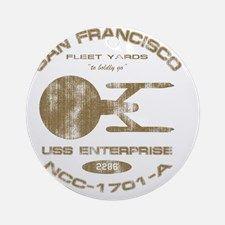 enterprise-a-shipyards-worn-for-dar Round Ornament for
