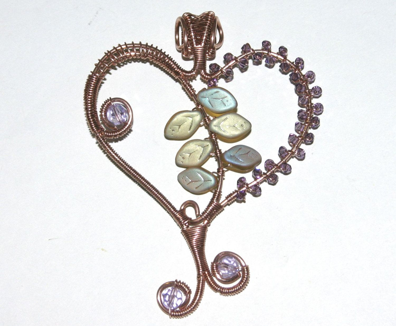 Gift for Her, Very Unique, Wire Wrapped Copper Heart Pendant ...