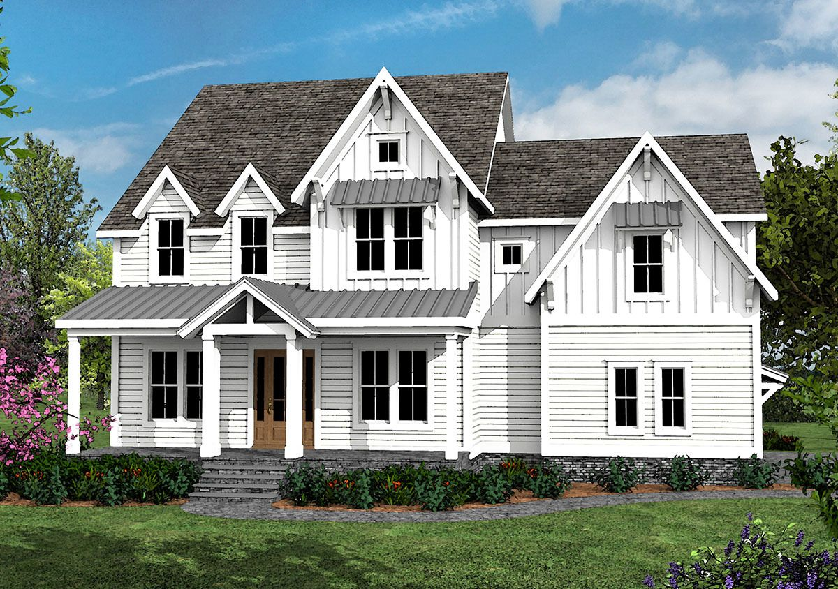 4 Bed Farmhouse Plan with Rocking Chair Porch  500003VV 16