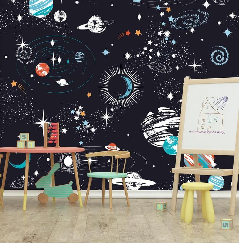 Black outerspace kids bedroom wallpaper starry galaxy wall ...