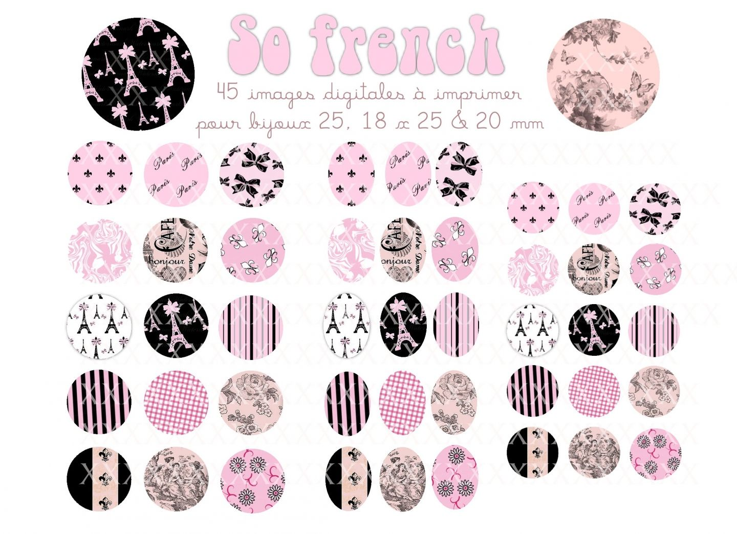 Fabulous 45 images digitales pour cabochons, 25x18, 20, 25 mm frenchies  TQ87