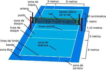 Voleibol Reglas Fundamentales Campo De Voleibol Cancha De Voley Voley