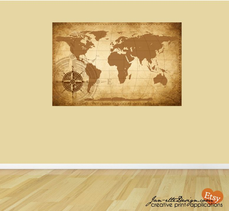 Wall Decal Rustic World Map Art Print. $65.00, via Etsy. | Office ...