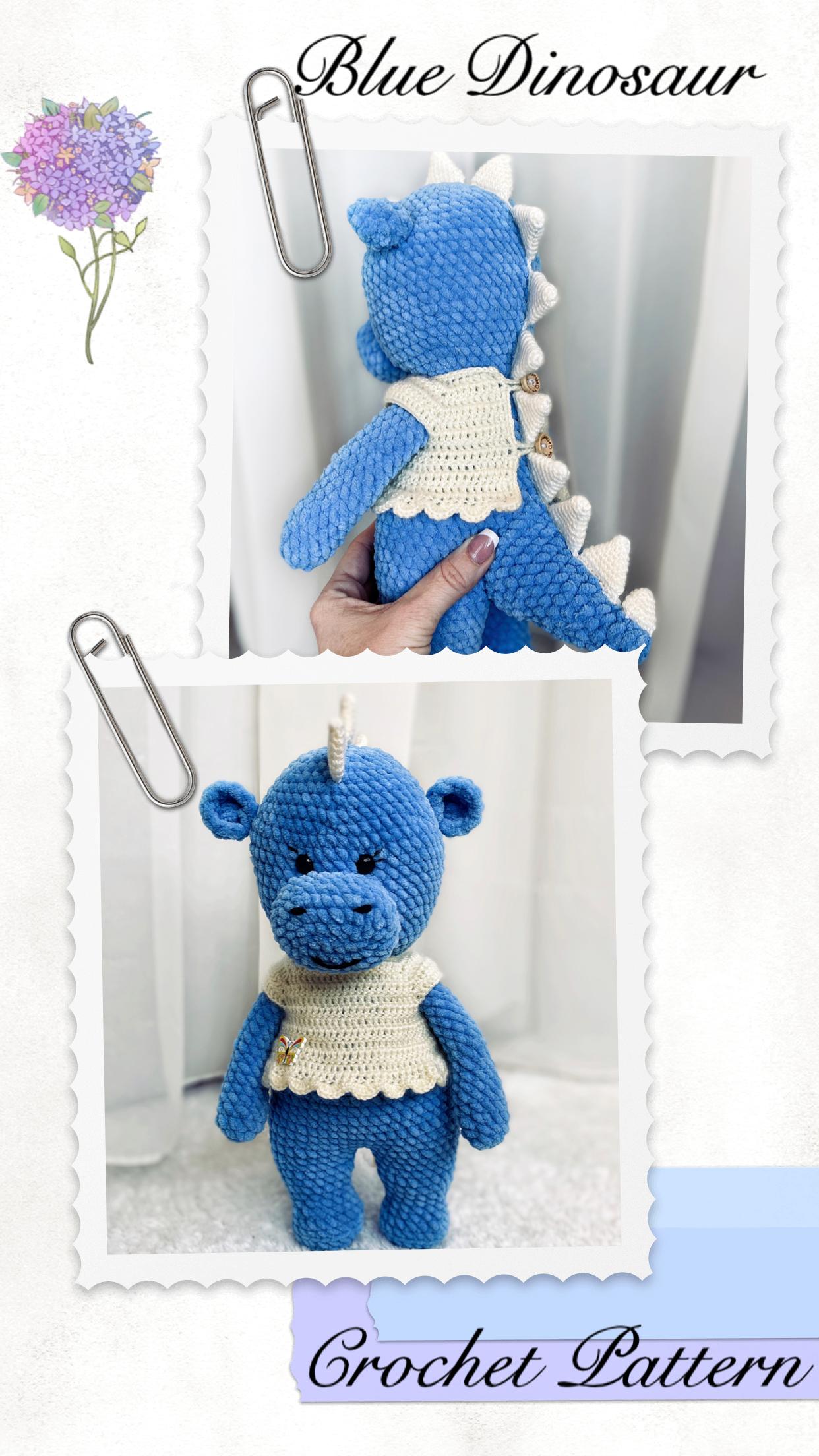 Crochet Pattern Blue Dragon Plush/Crochet Dinosaur Amigurumi | Etsy