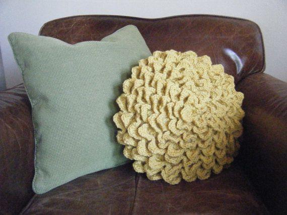 DIY Crochet Pattern: flower pillow, round pillow cover, shabby chic ...