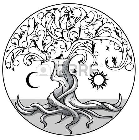 Arbre de la vie avec le soleil et la lune sur fond blanc