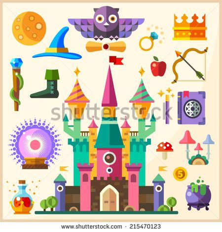 Magic And Fairy Tale Magic Castle Vector Flat Icon And
