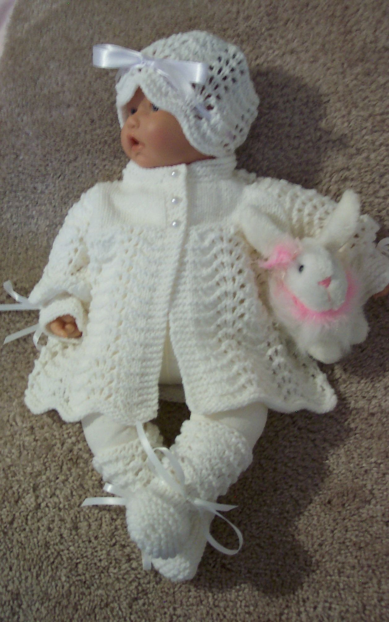 115da99e0 Handmade white baby sweater hat   booties layette set. Hand knitted ...